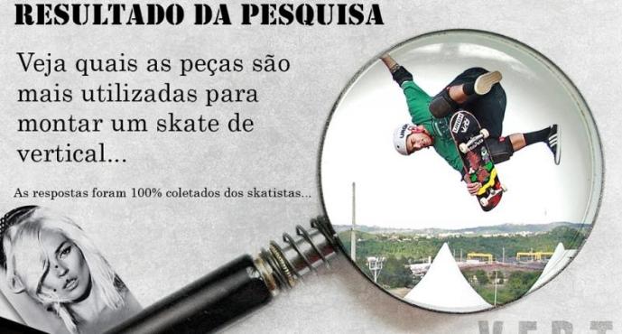 Pesquisa com skatistas - Peças mais usadas para skate vertical